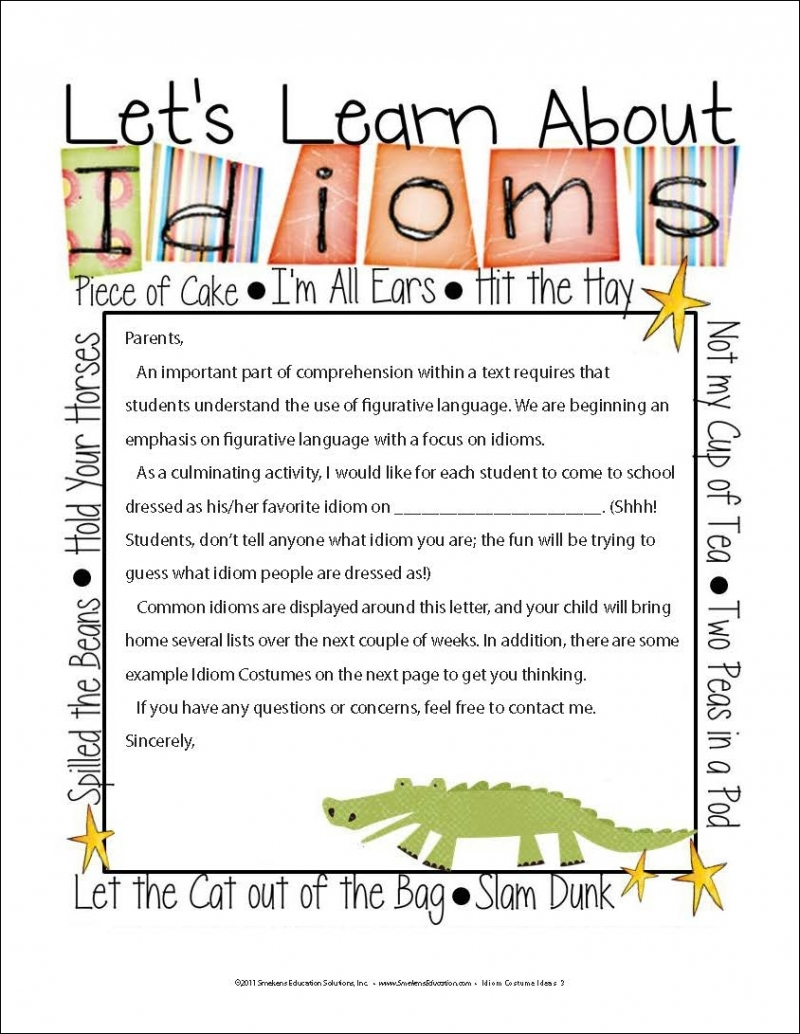 Parent Letter Let's Learn About Idioms