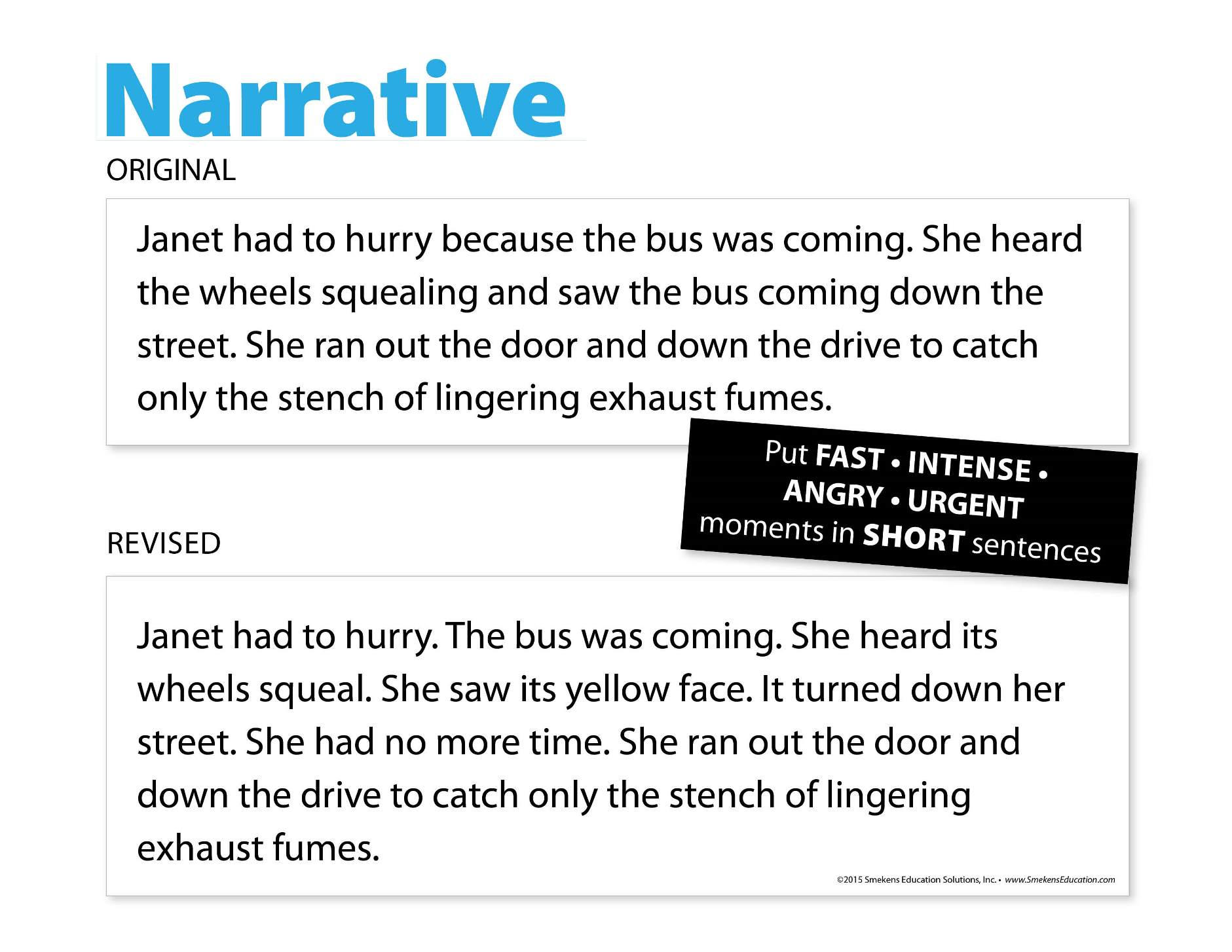 Narrative Writing Example for Fast-Paced Tone with Sentence Fluency