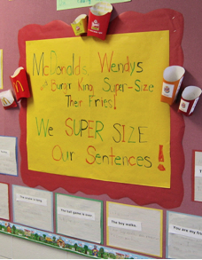 Bulletin Board Example - Supersizing Sentences with trigger of French fry containers