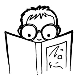 Reader looking into a book