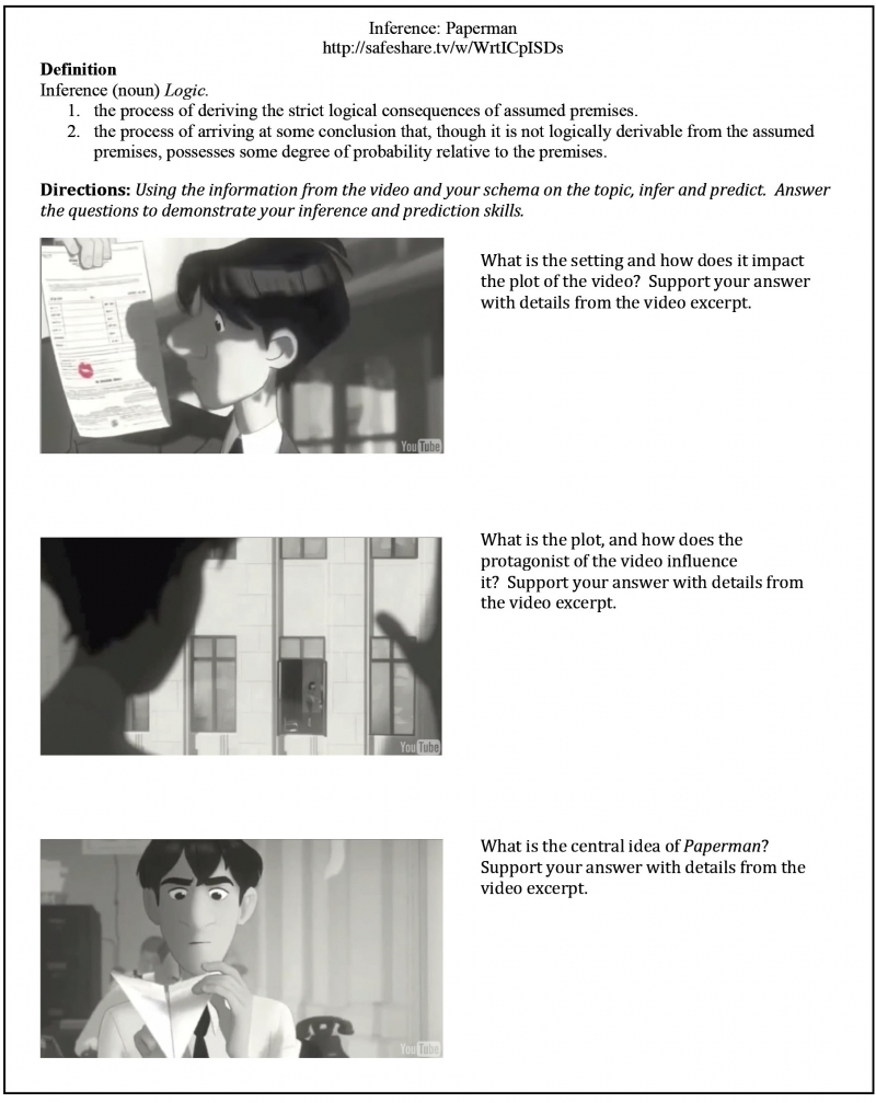 Paperman animated short Handout