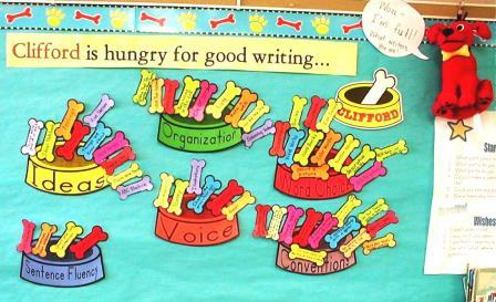 6 Traits of Writing--Clifford bulletin board--with dog bowls full of Trait-based skills
