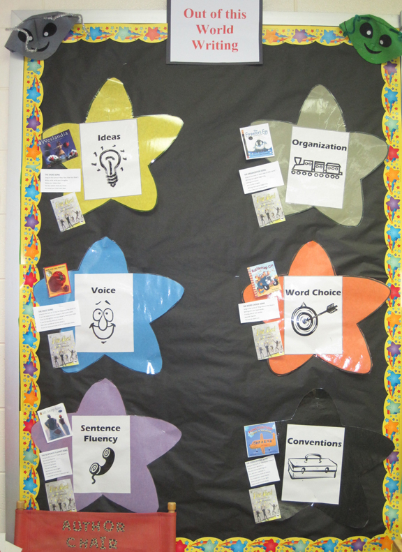 6 Traits of Writing--Out of This World Writing bulletin board