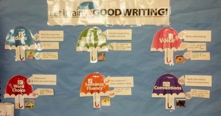 6 Traits of Writing--Let it Rain Good Writing bulletin board