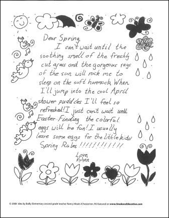 Student Sample Dear Spring Letter
