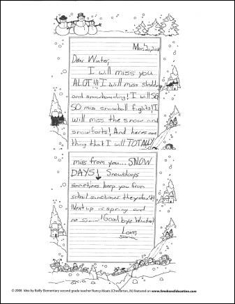 Student Sample Dear Winter Letter