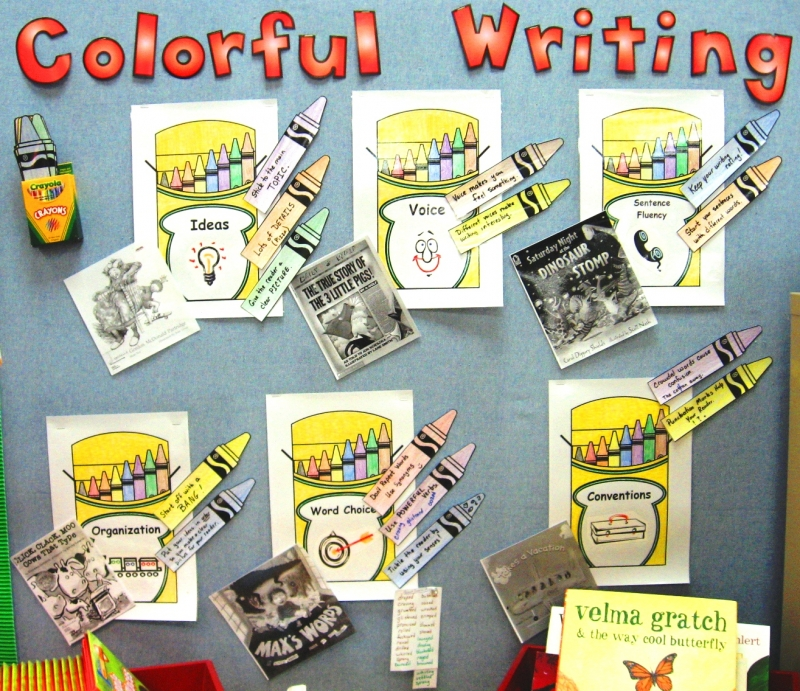 6 Traits of Writing--Colorful Writing bulletin board