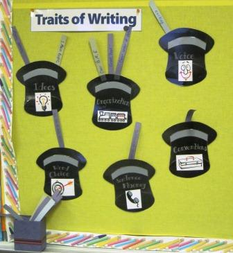 6 Traits of Writing--Magic Hats bulletin board