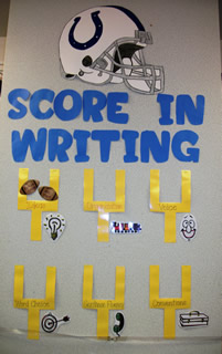 6 Traits of Writing Favorite Team bulletin board