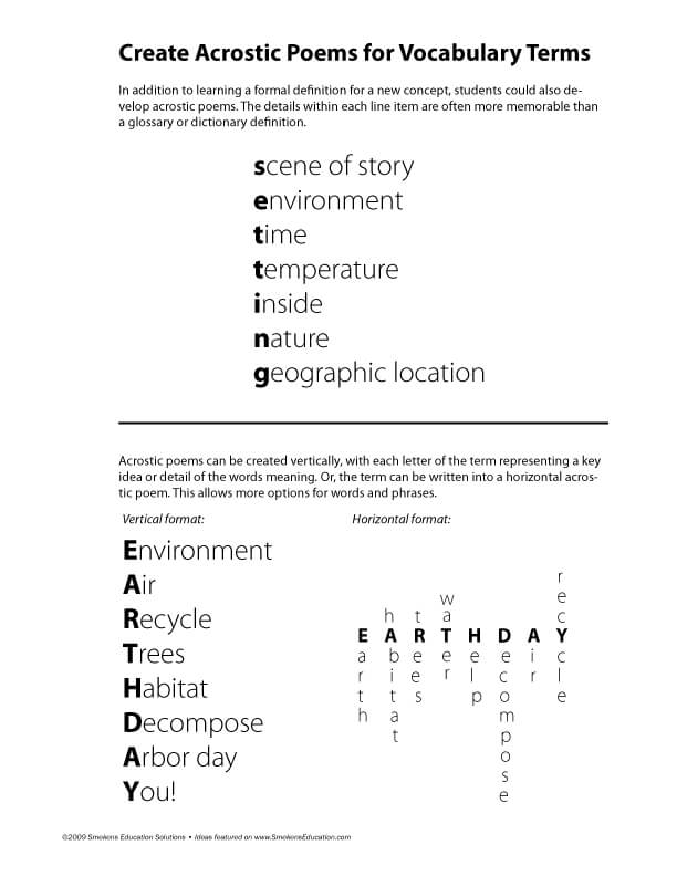 Create Acrostic Poems for Vocabulary Practice FREE Download
