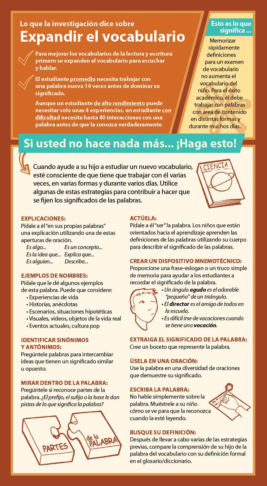 Expanding Vocabulary Parent Card by Smekens Education--Spanish version