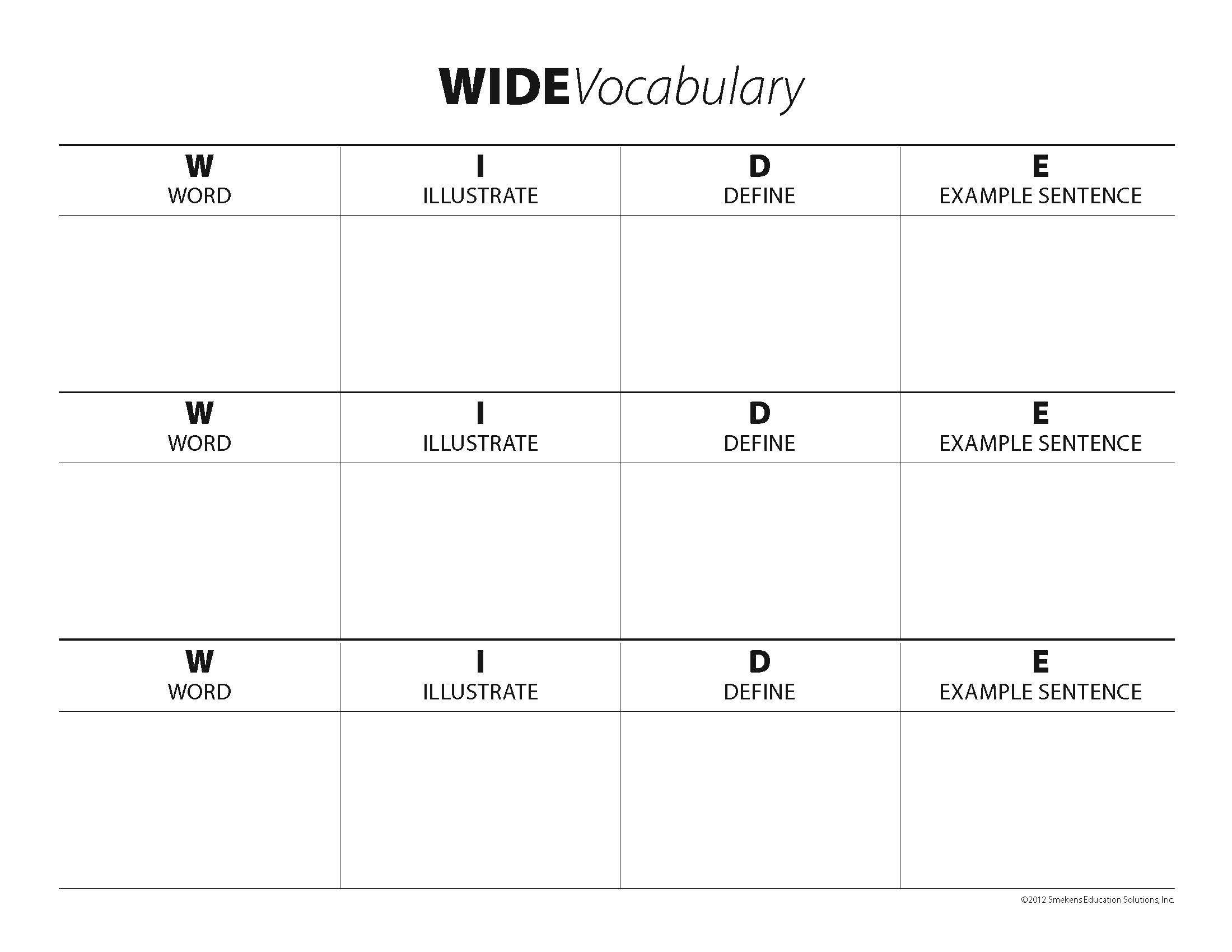 WIDE Vocabulary Examples
