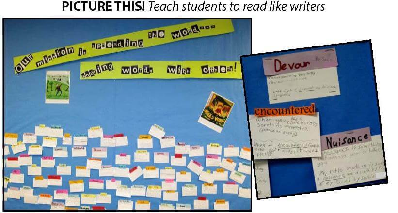 Teach students to read like writers--bulletin board