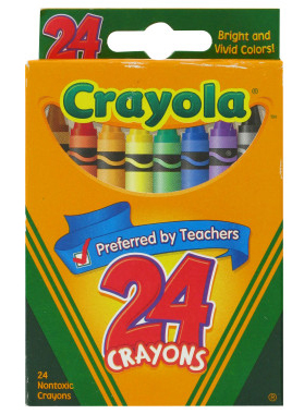 24-crayon box to identify synonyms for basic color words