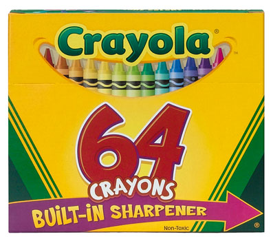 64-crayon box to identify synonyms for basic color words