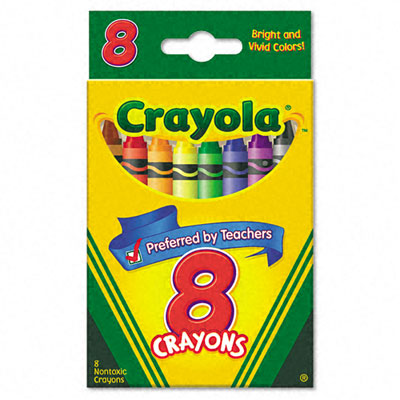 8-crayon box to identify synonyms for basic color words