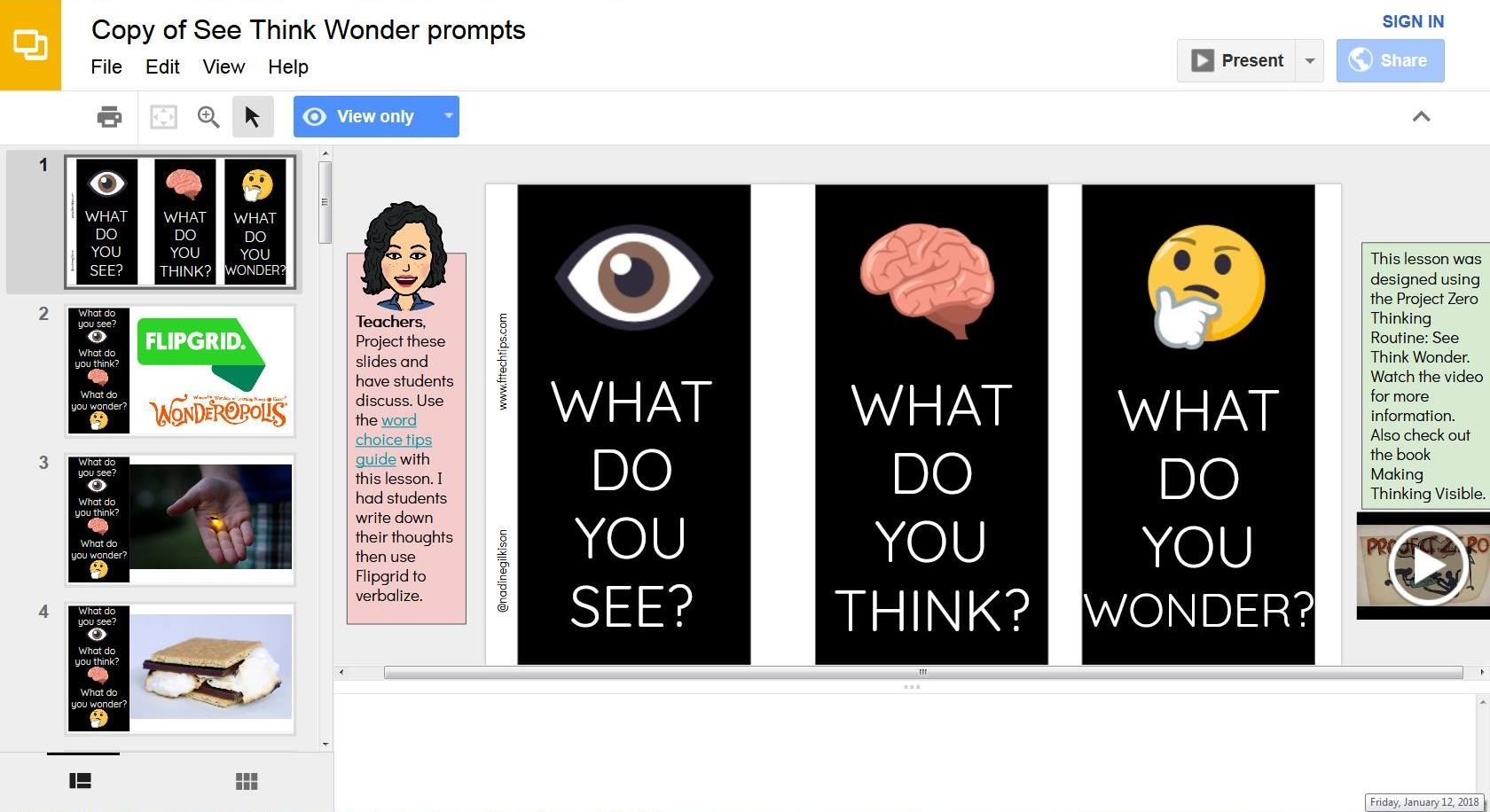See, Think, Wonder Prompts