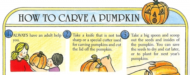 How to Carve a Pumpkin from The Pumpkin Book by Gail Gibbons