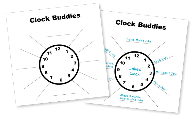 Pick Partners Using Clock Buddies Graphic - Free Download
