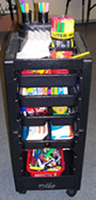 South Adams Elementary (Berne, IN) teacher Sandy Sprunger's cart of writer tools