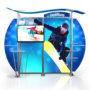 10ft Timberline Modular display w/curved wings & monitor mount