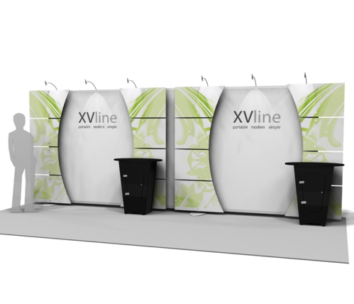 Exhibitline XV8N - 10 x 20 XVline Trade Show Display with NLC1 Counters