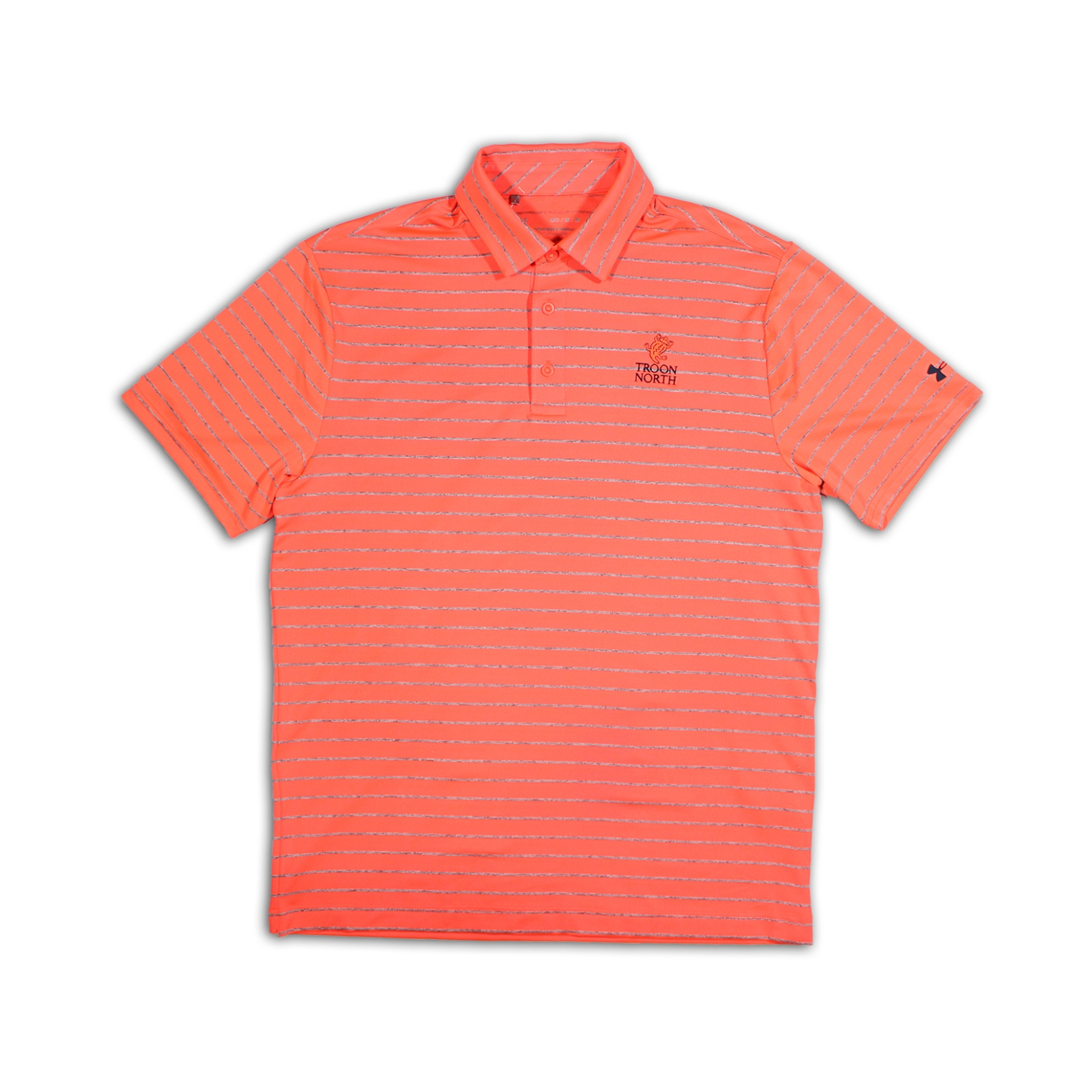 Under Armour Tour Stripe Dark Orange & Gray Polo